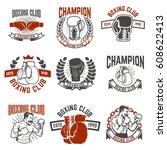 set of boxing club labels....
