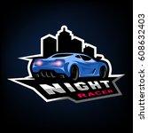 night street racer  emblem ... | Shutterstock .eps vector #608632403