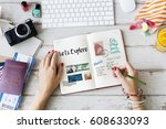 planning traveling trip notes... | Shutterstock . vector #608633093