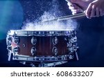 man plays musical percussion... | Shutterstock . vector #608633207