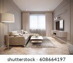 modern beige gray living room...   Shutterstock . vector #608664197