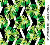 seamless pattern with... | Shutterstock .eps vector #608669837