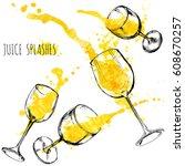 juice orange and apple splashes ... | Shutterstock .eps vector #608670257