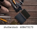leather products. work place... | Shutterstock . vector #608673173