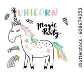 unicorn illustration   Shutterstock .eps vector #608674253