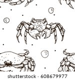 seamless pattern with crab... | Shutterstock .eps vector #608679977