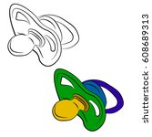 vector illustration of pacifier ... | Shutterstock .eps vector #608689313