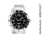 classic analog men's wrist... | Shutterstock . vector #608691617