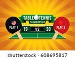 table tennis championship badge ... | Shutterstock .eps vector #608695817