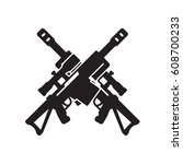 sniper rifle icon  two crossed... | Shutterstock .eps vector #608700233