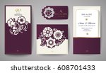 set of wedding floral... | Shutterstock .eps vector #608701433