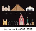 mexico famous landmarks...   Shutterstock .eps vector #608712707