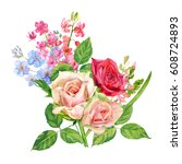bouquet of roses  hyacinth ... | Shutterstock . vector #608724893