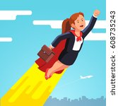 Superhero business woman and leader in red cape flying fast in the sky like a rocket showing yes winner gestures with clenched fists. Flat style modern vector illustration isolated on white background