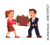 angry business man and woman... | Shutterstock .eps vector #608735927