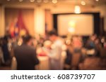 abstract blur long dinner table ... | Shutterstock . vector #608739707