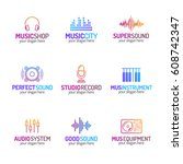 music shop logo set with... | Shutterstock .eps vector #608742347