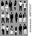 vector  people  set of black... | Shutterstock .eps vector #608751917