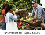 people buying fresh local... | Shutterstock . vector #608752193