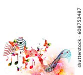 colorful stave with music notes ... | Shutterstock .eps vector #608752487
