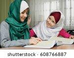 little muslim girls read the... | Shutterstock . vector #608766887