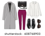 lady fashion set of outfit.... | Shutterstock . vector #608768903