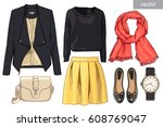 lady fashion set of autumn... | Shutterstock .eps vector #608769047
