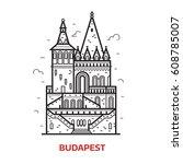 travel budapest landmark icon....   Shutterstock .eps vector #608785007