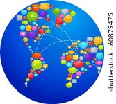 globe made from thought bubbles | Shutterstock .eps vector #60879475