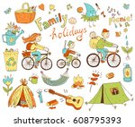 set of cute doodle family and... | Shutterstock . vector #608795393