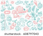 cute doodle collection of... | Shutterstock . vector #608797043