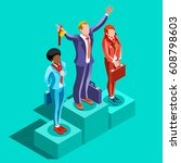 isometric business victory...   Shutterstock .eps vector #608798603