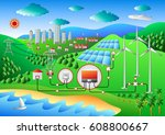 wind and solar hybrid power... | Shutterstock .eps vector #608800667