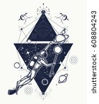 diver floats in space tattoo... | Shutterstock .eps vector #608804243