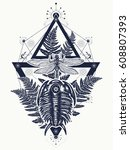 prehistoric tattoo art. ... | Shutterstock .eps vector #608807393