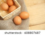 Brown Eggs In Basket With...
