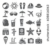 summer icons | Shutterstock .eps vector #608816063