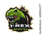 dinosaur head logo  emblem. t... | Shutterstock .eps vector #608816177