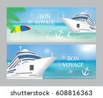 cruise ship with  bon voyage ... | Shutterstock .eps vector #608816363