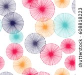 seamless pattern with radial...   Shutterstock .eps vector #608818223