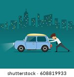 business man pushing car  the... | Shutterstock .eps vector #608819933