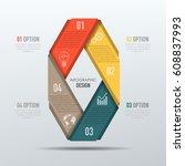 vector abstract 3d digital... | Shutterstock .eps vector #608837993
