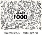 food and drink  doodles... | Shutterstock .eps vector #608842673