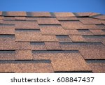 the roof of the house with red... | Shutterstock . vector #608847437