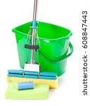 green bucket  mop and sponge on ... | Shutterstock . vector #608847443