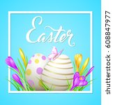 easter card with eggs  crocuses ...   Shutterstock .eps vector #608847977