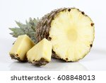 pineapple with slices on white... | Shutterstock . vector #608848013