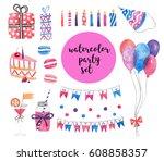 watercolor party set. happy...   Shutterstock . vector #608858357