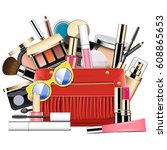 vector cosmetic bag | Shutterstock .eps vector #608865653