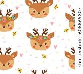 cute seamless pattern for... | Shutterstock .eps vector #608869307